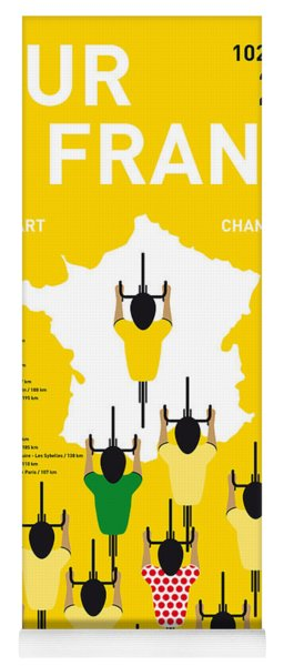 My Tour De France Minimal Poster Etapes 2015 Yoga Mat