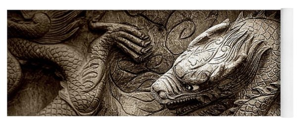 Mystical Ancient Dragon Of China B/w Yoga Mat