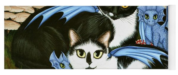 Nami And Rookia's Dragons - Tuxedo Cats Yoga Mat