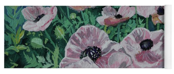 Yoga Mat featuring the painting Nancy's Poppies by Robin Maria Pedrero