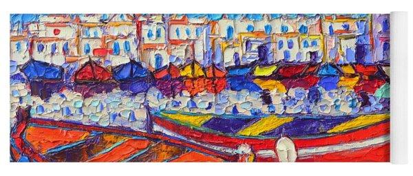 Naousa Harbor Greece Paros Island Modern Impressionist Palette Knife Oil Painting Ana Maria Edulescu Yoga Mat