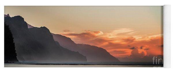 Napali Coast Kauai Hawaii Panoramic Sunset Yoga Mat