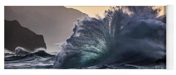 Napali Coast Kauai Wave Explosion Hawaii Yoga Mat