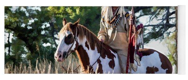 Native American In Full Headdress On A Paint Horse Yoga Mat