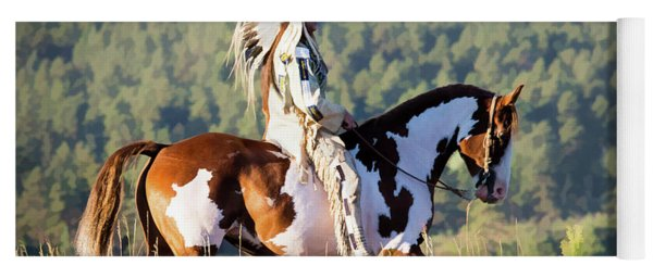 Native American On His Paint Horse Yoga Mat
