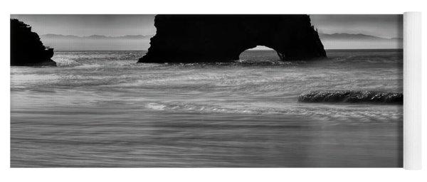 Natural Bridges State Beach Water B/w Yoga Mat