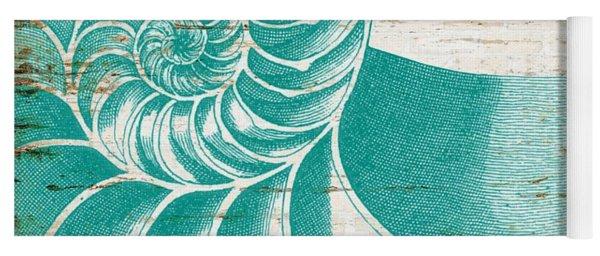 Nautilus Shell Distressed Wood Yoga Mat