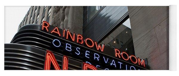 Yoga Mat featuring the photograph Nbc Studio Rainbow Room Sign by Lorraine Devon Wilke