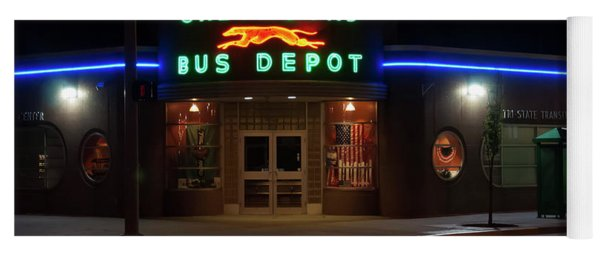 Yoga Mat featuring the photograph Neon Greyhound Bus Depot Sign by Chris Flees