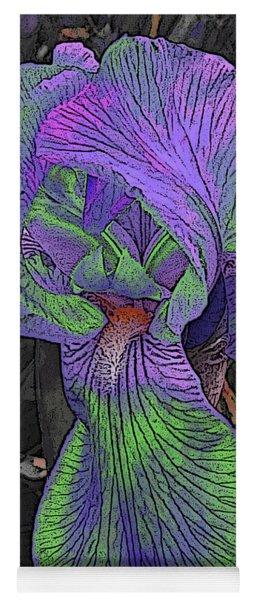 Neon Iris Dark Background Yoga Mat