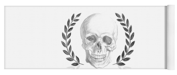 Never Fear The Shadows Stoic Skull With Laurels Yoga Mat
