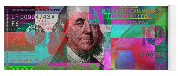 New 2009 Series Pop Art Colorized Us One Hundred Dollar Bill  No. 3 Yoga Mat