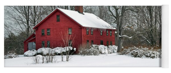 New England Colonial Home In Winter Yoga Mat