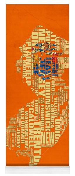 New Jersey Typographic Map 03 Yoga Mat
