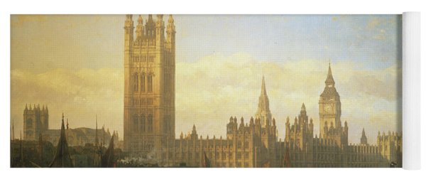 New Palace Of Westminster From The River Thames Yoga Mat