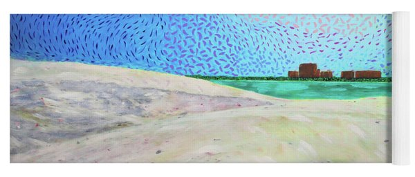 Yoga Mat featuring the painting New Smyrna Beach As Seen From A Dune On Ponce Inlet by Deborah Boyd
