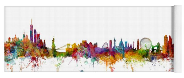 New York And London Skyline Mashup Yoga Mat