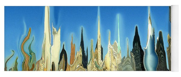New York City Skyline 2100 - Modern Artwork Yoga Mat