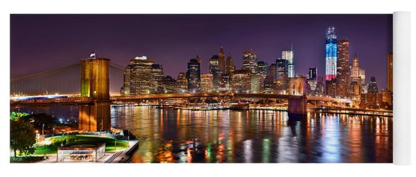New York City Brooklyn Bridge And Lower Manhattan At Night Nyc Yoga Mat