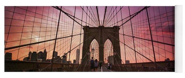 New York City - Brooklyn Bridge Sunset Yoga Mat