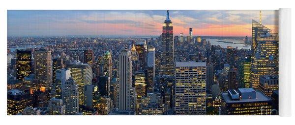New York City Manhattan Empire State Building At Dusk Nyc Panorama Yoga Mat