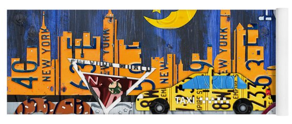 New York City Nyc The Big Apple License Plate Art Collage No 1 Yoga Mat