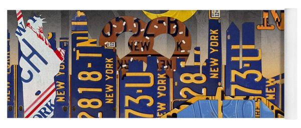 New York City Nyc The Big Apple License Plate Art Collage No 2 Yoga Mat