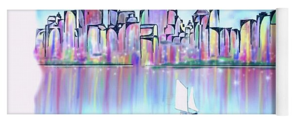 Yoga Mat featuring the digital art New York City Scape by Darren Cannell