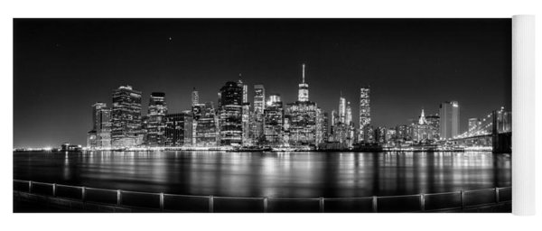 New York City Skyline Panorama At Night Bw Yoga Mat