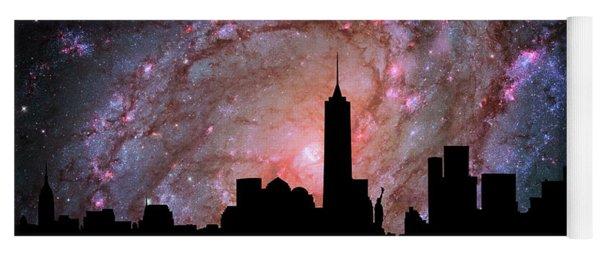 New York City Skyline Silhouette Galaxy Yoga Mat