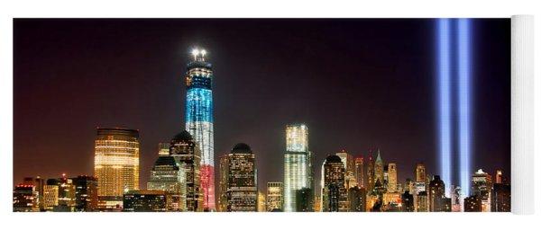 New York City Skyline Tribute In Lights And Lower Manhattan At Night Nyc Yoga Mat