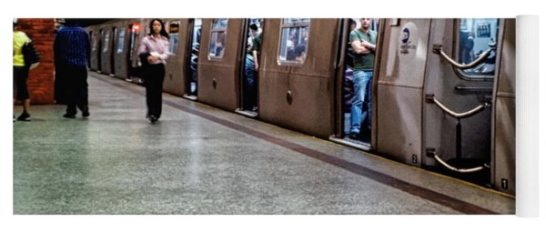 Yoga Mat featuring the photograph New York City Subway Stare by Lars Lentz