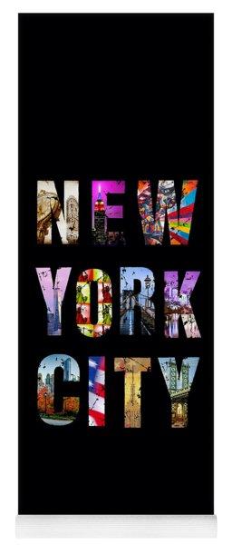 New York City Text On Black Yoga Mat