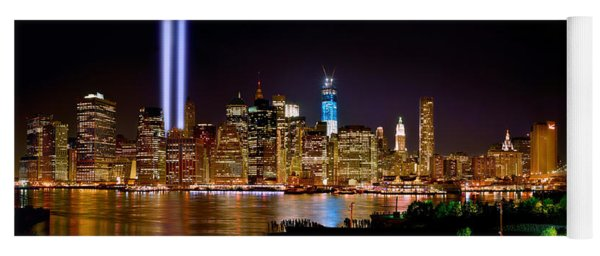 New York City Tribute In Lights And Lower Manhattan At Night Nyc Yoga Mat