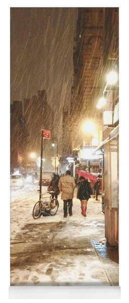 New York City - Winter Night - Snow In The City Yoga Mat