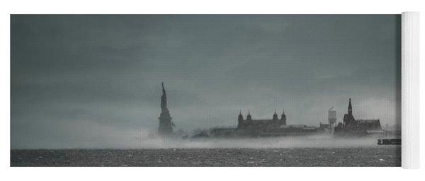 New York Harbor With Fog Yoga Mat