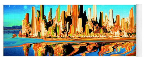 New York Skyline In Blue Orange - Modern Fantasy Art Yoga Mat