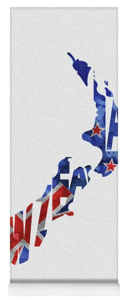 New Zealand Typographic Map Flag Yoga Mat