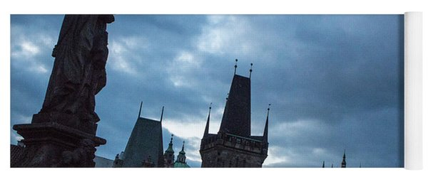 Yoga Mat featuring the photograph Night Along The St. Charles Bridge by Matthew Wolf