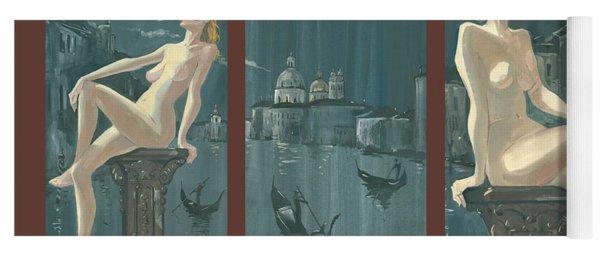 Night In Venice. Triptych Yoga Mat