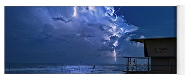 Night Lightning Under Full Moon Over Hobe Sound Beach, Florida Yoga Mat