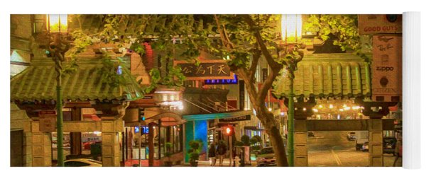 Night Scene Leaving Chinatown Yoga Mat