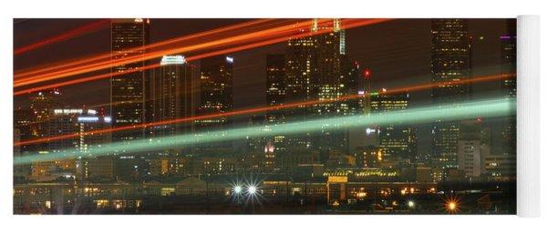 Night Shot Of Downtown Los Angeles Skyline From 6th St. Bridge Yoga Mat