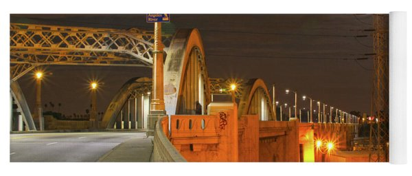 Night Shot Of The Los Angeles 6th Street Bridge And Supermoon #1 Yoga Mat