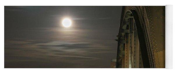 Night Shot Of The Los Angeles 6th Street Bridge And Supermoon #2 Yoga Mat