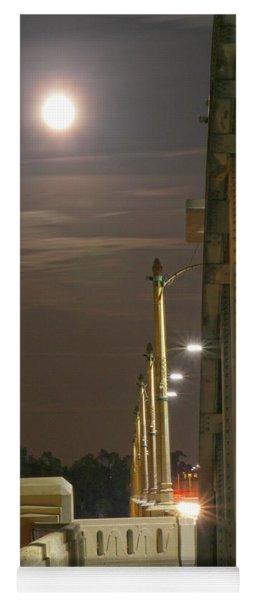Night Shot Of The Los Angeles 6th Street Bridge And Supermoon #3 Yoga Mat