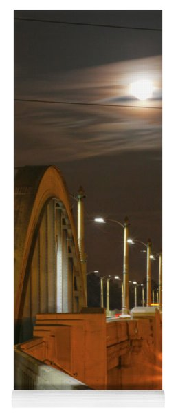 Night Shot Of The Los Angeles 6th Street Bridge And Supermoon #4 Yoga Mat