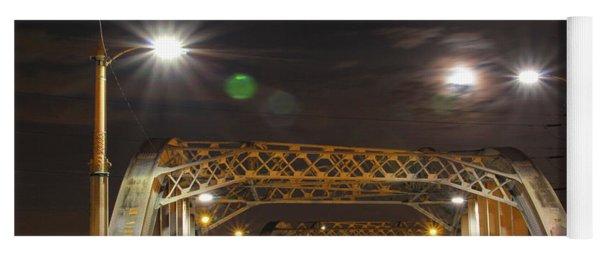 Night Shot Of The Los Angeles 6th Street Bridge And Supermoon #5 Yoga Mat