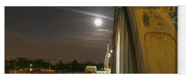 Night Shot Of The Los Angeles 6th Street Bridge And Supermoon #6 Yoga Mat