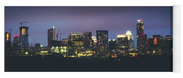 Night View Of Downtown Skyline In Winter Yoga Mat